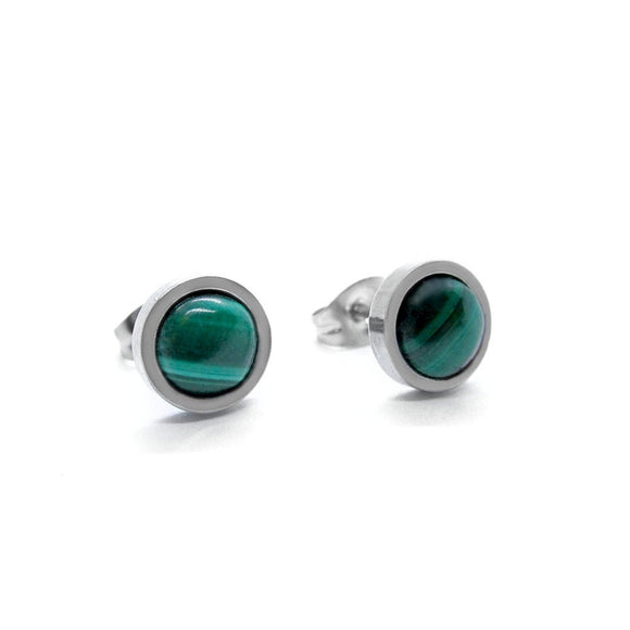 Mens Malachite Flat Frame Stud Earrings