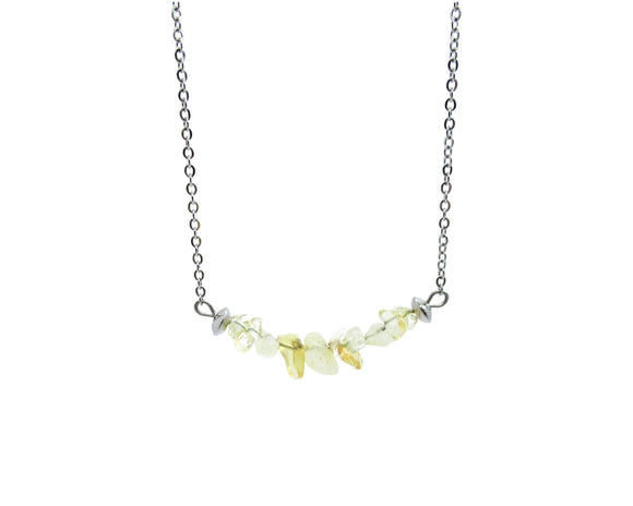 Citrine Chip Bar Necklace