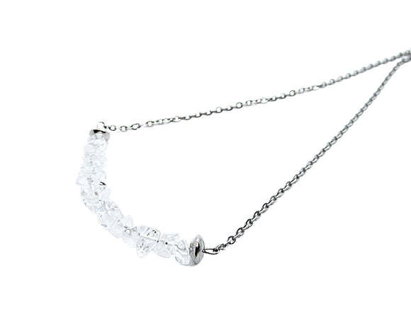 Clear Rock Crystal Quartz Chip Bar Necklace