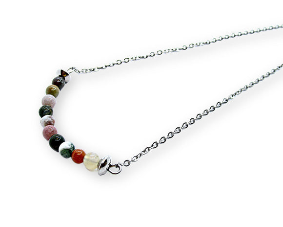 Indian Agate Bar Necklace, Gemini Zodiac Stone, Natural Gemstone Beaded Pendant Necklace, Birthstone