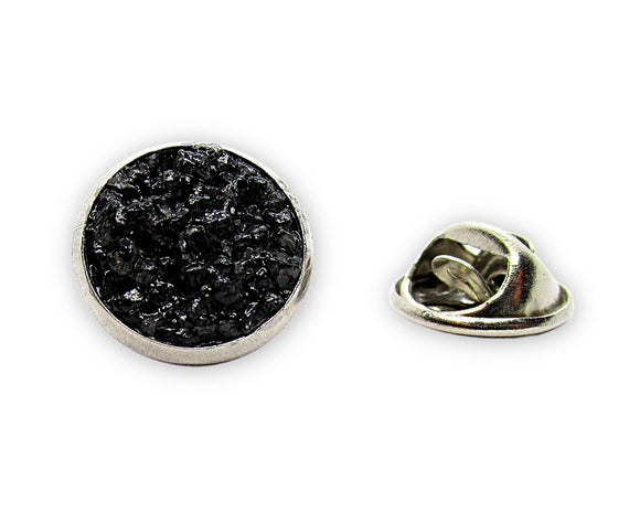 Mens Black Quartz Tie Tack Pin