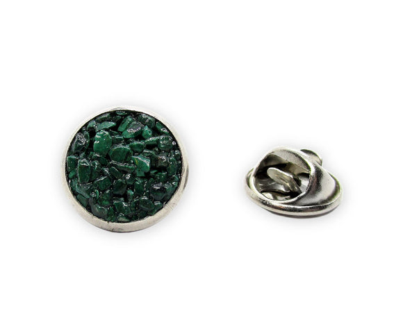 Mens Crushed Malachite Tie Tack Pin