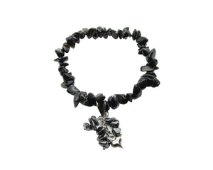 Custom Black Obsidian Chip Stretch Bracelet, Hematite Chips Dangle Heart Charm