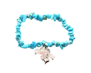 Custom Turquoise Chip Stretch Bracelet, Rose Quartz Chips Heart Charm