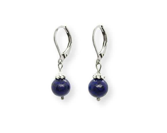 Lapis Lazuli Drop Leverback Earrings