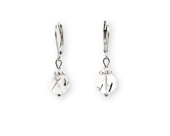 Tourmalinated Quartz Drop Leverback Earrings