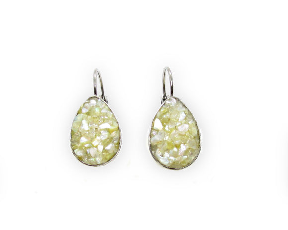 Crushed Mother of Pearl Shell Leverback Earrings