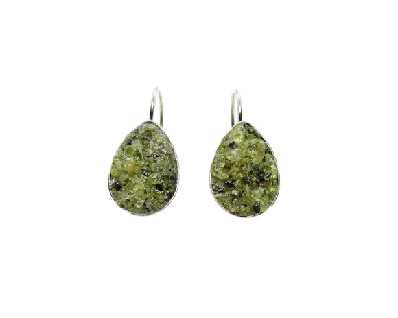Crushed Peridot Teardrop Leverback Earrings