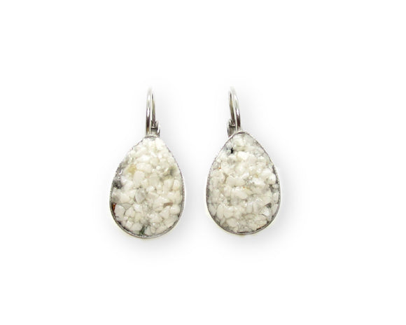 Crushed Howlite Teardrop Leverback Earrings