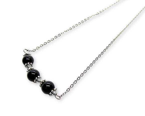 Black Onyx Bead Bar Necklace