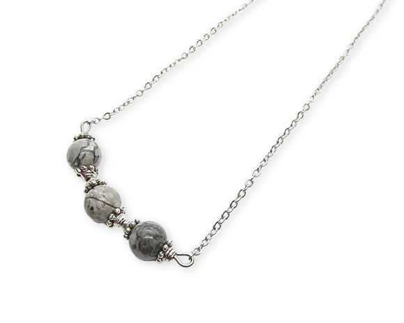 Gray Picture Jasper Beaded Bar Necklace