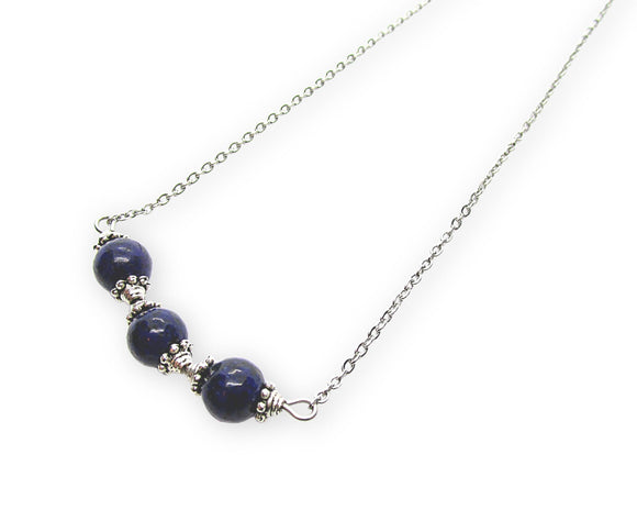 Lapis Lazuli Beaded Bar Pendant Necklace