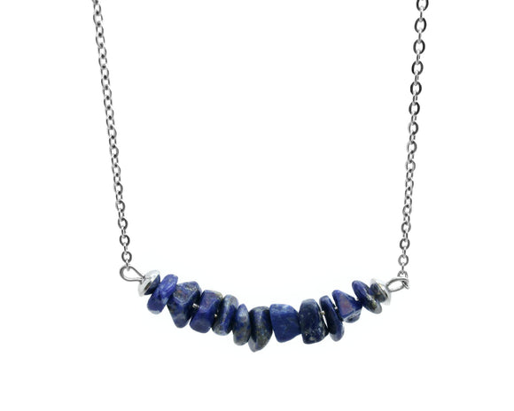 Lapis Lazuli Chip Bar Necklace