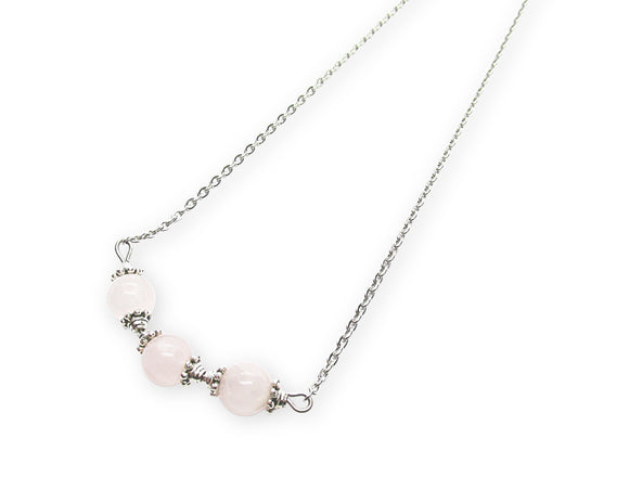 rose quartz beaded bar pendant necklace