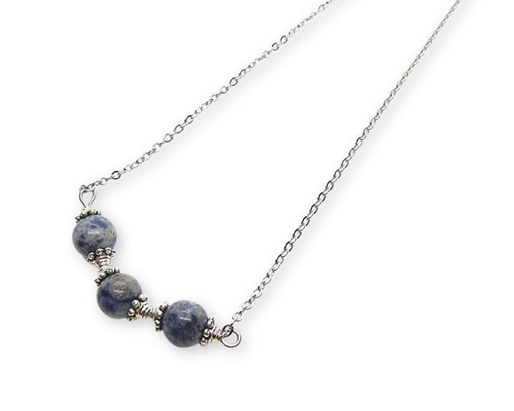 Sodalite Beaded Bar Pendant Necklace