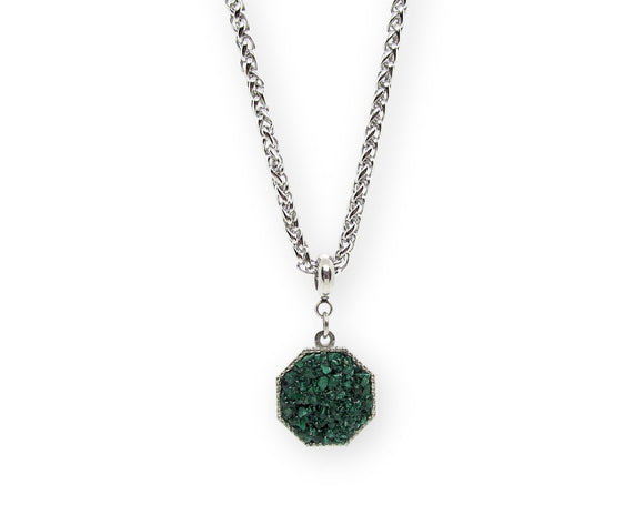 Mens Crushed Malachite Hexagon Pendant Necklace