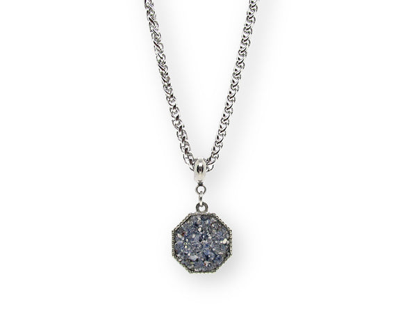 Mens Crushed Sodalite Hexagon Pendant Necklace