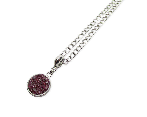 Mens Crushed Garnet Round Pendant Necklace