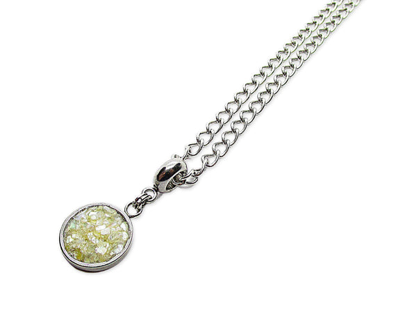 Mens Crushed Mother of Pearl Round Pendant Necklace