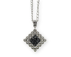 Mens Crushed Black Quartz Rhombus Pendant Necklace