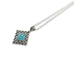 mens crushed turquoise rhombus pendant necklace