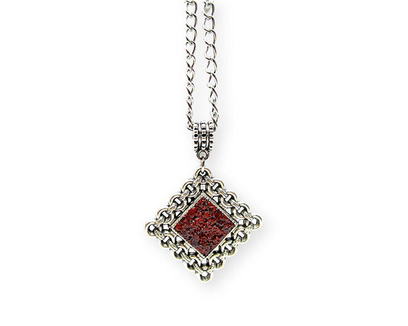 mens crushed red jasper rhombus pendant necklace