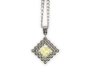 mens crushed mother of pearl shell rhombus pendant necklace