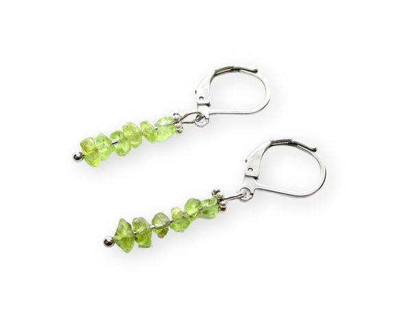Custom Peridot Chip Bar Leverback Earrings