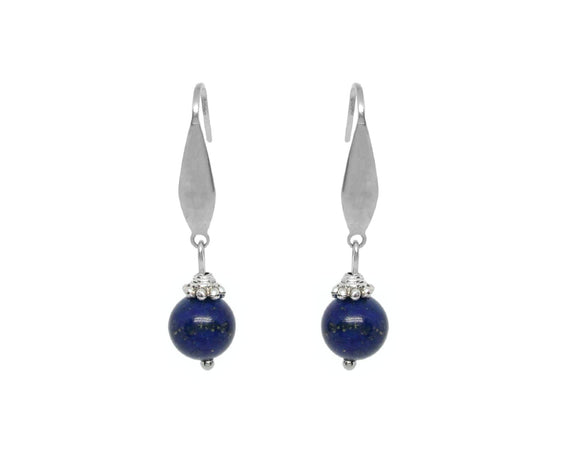 Custom Lapis Lazuli Drop Earrings, Stainless Steel