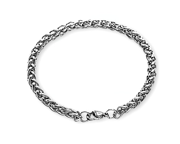 Unisex Wheat Chain Bracelet, Stainless Steel