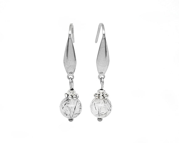 Tourmalinated Quartz Drop Earrings, Tourmalated Quartz, Rutilated Quartz