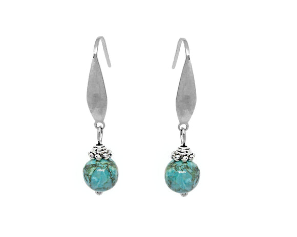 Custom Turquoise Drop Earrings, Stainless Steel