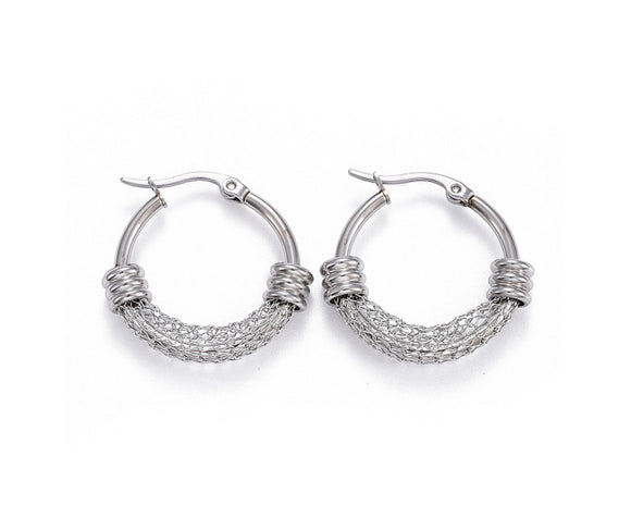 Medium Wire Mesh Hoop Earrings, Stainless Steel