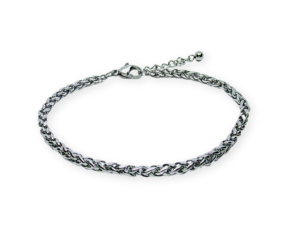 Womens Wheat Chain Bracelet, Stainless Steel