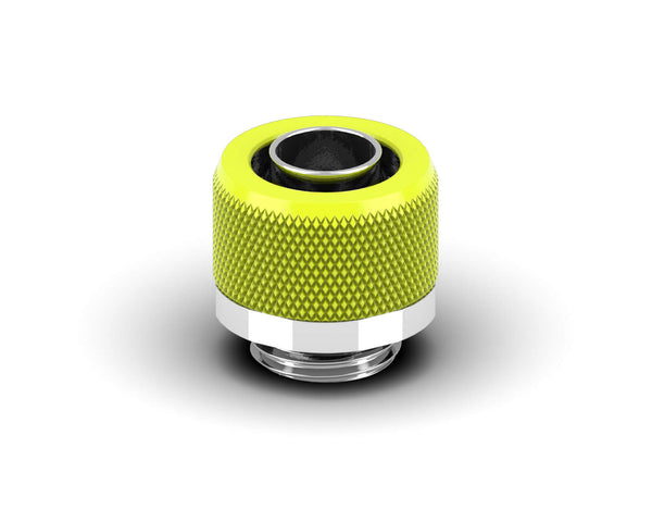 PrimoChill 3/8in. x 1/2in FlexSX Series Compression Fitting - Lime Yellow
