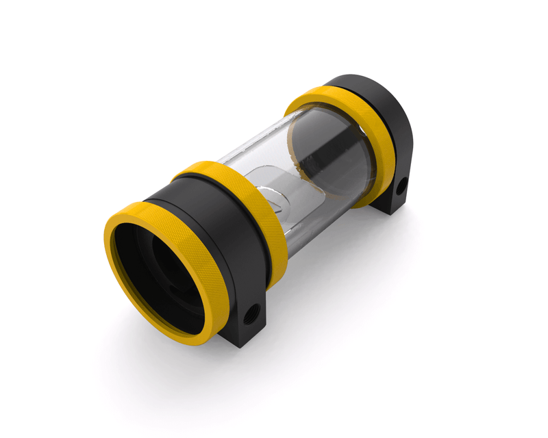 PrimoChill CTR Hard Mount Phase II High Flow D5 Enabled Reservoir - Black POM - 120mm - Yellow