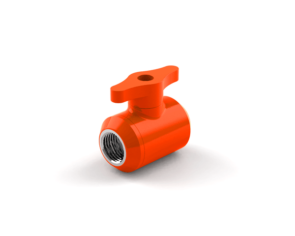 BSTOCK: PrimoChill Female to Female G 1/4 Drain Valve - UV Orange