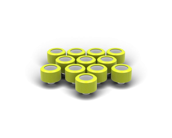 PrimoChill 16mm OD Rigid SX Fitting - 12 Pack - Lime Yellow