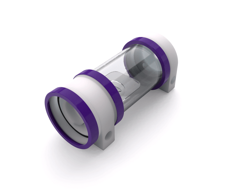 PrimoChill CTR Hard Mount Phase II High Flow D5 Enabled Reservoir - White POM - 120mm - Purple