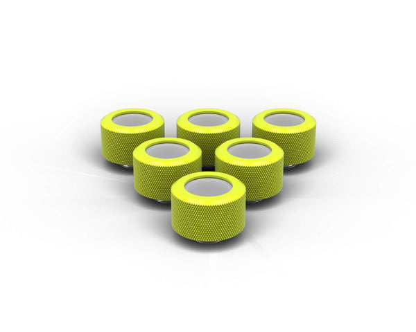 PrimoChill 16mm OD Rigid SX Fitting - 6 Pack - Lime Yellow