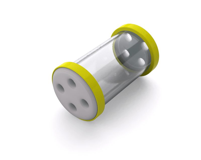 PrimoChill CTR Low Profile Phase II Reservoir - White POM - 120mm - Lime Yellow