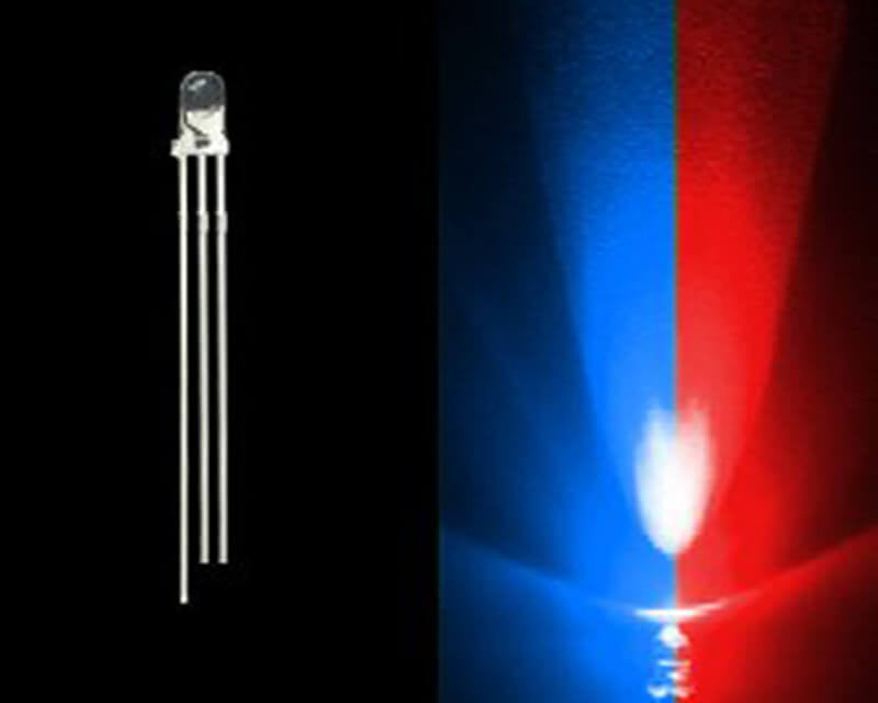 3mm Bi-Colored 3 Prong LED Bulb- Blue/Red- 50 Pack - Primochill