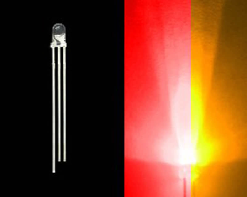 3mm Bi-Colored 3 Prong LED Bulb- Red/Amber- 50 Pack - Primochill
