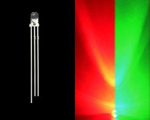3mm Bi-Colored 3 Prong LED Bulb- Red/Green- 50 Pack - Primochill