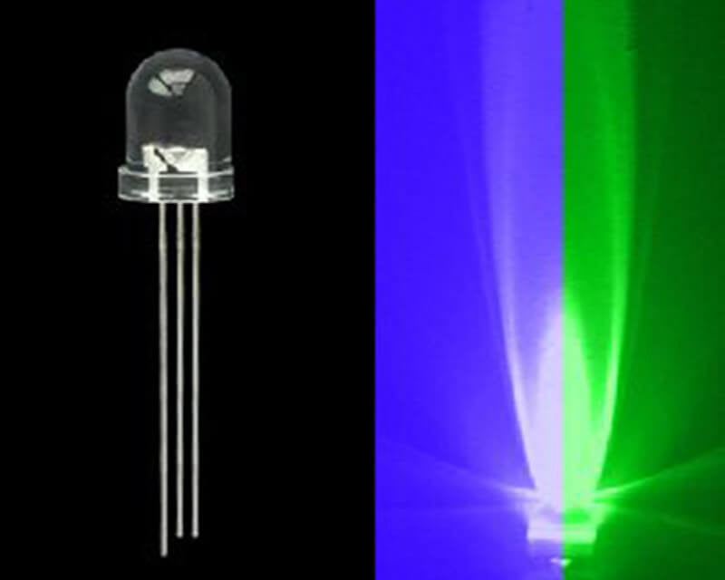 5mm Bi-Colored 3 Prong LED Bulb- Blue/Green- 50 Pack - Primochill
