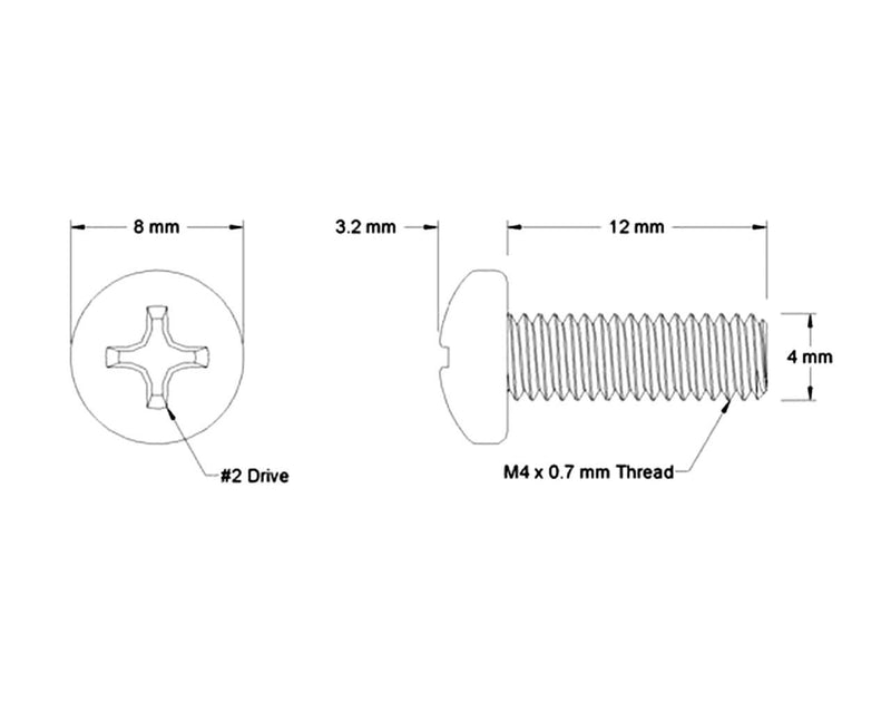 Phillips Head Screw - M4 x 12mm - Silver - 4 Pack - Primochill