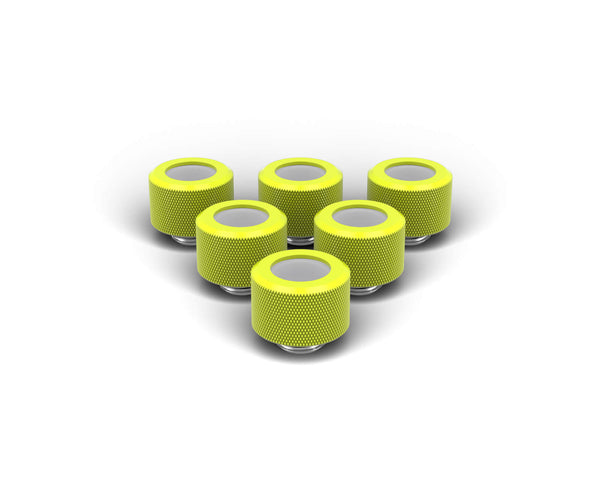 PrimoChill 14mm OD Rigid SX Fitting - 6 Pack - Lime Yellow