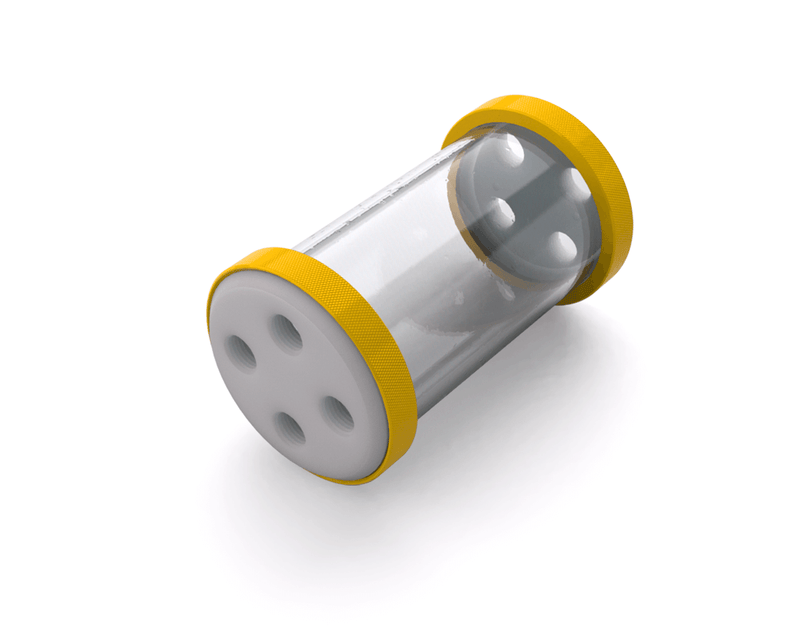 PrimoChill CTR Low Profile Phase II Reservoir - White POM - 120mm - Yellow