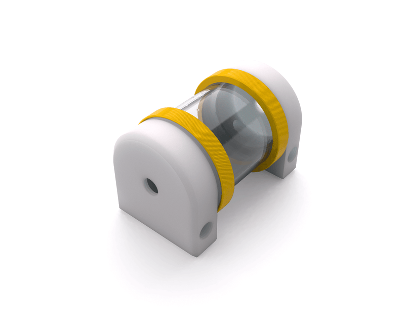 PrimoChill CTR Hard Mount Phase II Reservoir - White POM - 80mm - Yellow
