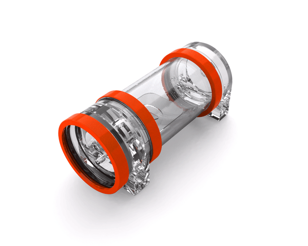 PrimoChill CTR Hard Mount Phase II High Flow D5 Enabled Reservoir - Clear PMMA - 120mm - UV Orange